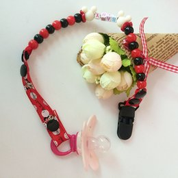 Wholesale Dummy Hands - Wholesale-New Baby Pacifier Clip Pacifier Chain Hand Made Funny Colourful Beads Dummy Clip Baby Soother Holder For Baby Kid VCR20 P50