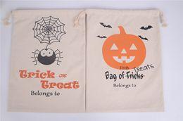 Wholesale Halloween Party Treats - 2017 Halloween Candy Gift Sack 36*44 Treat or Trick Pumpkin Printed Bat Canvas Bag Children Party Festival Drawstring Bag