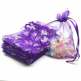 Wholesale Jewelry Pouches Purple - 100 Pcs Deep Purple Butterfly Organza Jewelry Pouch Gift Bags 9X12cm ( 3.5 x 4.7 inch) Drawstring Organza Gift Candy Beads Bags