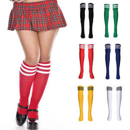 Wholesale Women Long Dresses Sale - Wholesale- Hot Sales Ladies Women Referee Stripe Over Knee High Socks Fancy Dress Long New