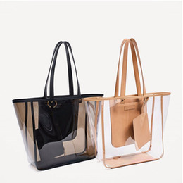 Wholesale Transparent Bags Shop - Women Large Capacity Transparent Jelly Bag Shopping Bag Beach Bag Single Shoulder Or Toting