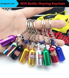Wholesale Family Colors - Fashion Auto Parts Model Rainbow Colors NOS Bottle Keyring Keychain Car Key Chain Keyring Keyfob Stash Pill Box Storage M747