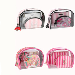 Wholesale Cosmetics Bag Green - landyhouse 3pcs set Fashion Brand Cosmetic Bags Waterproof for victoria Neceser Portable Make Up Bag Women PVC Pouch Travel Toiletry Bag