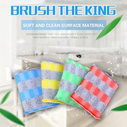 Wholesale Home Kitchen Supplies - Home 4 color stripes sponge rub cleaning supplies strong decontamination rust scrub scoop washing household items
