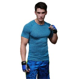 Wholesale Men Stretch Short - Fitness suit sports tights short - sleeved running stretch quick - drying round neck shirt T - shirt