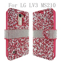Wholesale Leather Crystal Pouch - For LG Aristo Metropcs LV3 V3 MS210 K8 2017 galaxy J2 prime grand prime Hybrid Bling Crystal Rhinestone Diamond Slot Stand Wallet Case