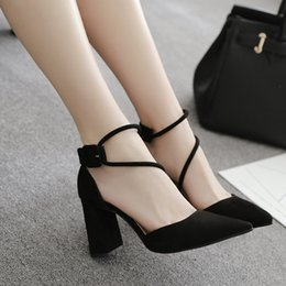 Wholesale Black Suede Lace Up Wedges - New Lady Dress Shoes Sandals Women Pumps Heels Suede Pointed Toe Thin High Heels Festival Party Wedding Shoes Formal Pumps Sandals GWS103