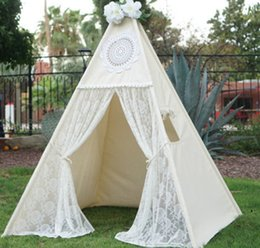 Wholesale Kids Play Teepee - Wholesale- LoveTree Canvas Teepee Canopy Tent Playhouse Kids toy teepee tent Play room Indoor outdoor tourist game room-Lace teepee