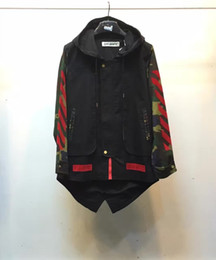 Wholesale Outwear Tail - Wholesale- 2016 F W off white fish tail hooded windbreaker back with red flocked diagonal stripes camo sleeve trench jacket outwear