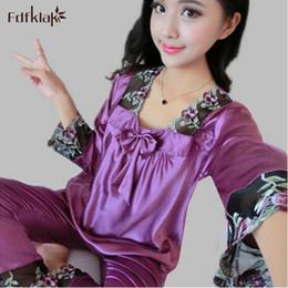 Wholesale Womens Satin Silk Pajamas - Wholesale- Womens Silk Pajamas Sets Spring Summer Female Lace Embroidered Satin Pyjamas Sleepwear Loungewear 2017 New Autumn Pijama