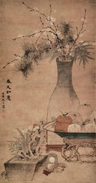 Wholesale Flower Watercolor Paintings - Chinese Qing Dynasty calligraphy flower and painting home coffee shop decorations paintings Christmas gifts arts painting supplies