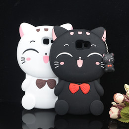Wholesale S4 Cartoon - 3D Cartoon Kawaii Bow Tie Cat Soft silicone Cover Case for Samsung Galaxy S3 S4 S5 S6 S7 S7 edge note3 note4 note5 Phone Cases