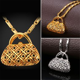 Wholesale Beautiful Lovely Women - U7 Lovely Handbag Pendant Necklace AAA+ Cubic Zirconia 18K Gold Platinum Plated Fashion Women Jewelry Perfect Gift Beautiful Accessories