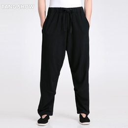 Wholesale Chi Flat - Wholesale- New Style Black Men's Casual Loose Pant Chinese Male Cotton Linen Kung Fu Tai Chi Trousers Size S M L XL XXL XXXL 2601-1