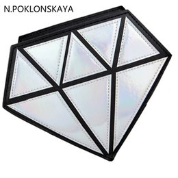 Wholesale Holographic Bags - 2017 fashion hologram bag diamond shape laser holographic crossbody chain bag women messenger bags