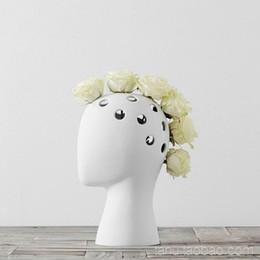 Tête humaine créative blanc noir décoratif bastract vase en céramique sans fleur maison modèle chambre décoration ornements Vase 10 ? partir de fabricateur