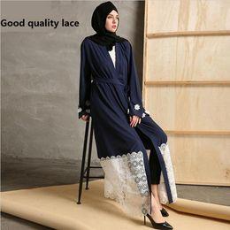 Wholesale Arab Embroidery - Muslim Abaya Kaftan Plus Size Adult Embroidery Flower Lace Cotton Linee Robes Musulmane Turkish Abaya Muslim Robes Arab Worship Service