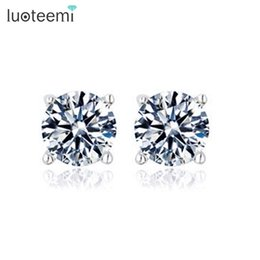Wholesale Gold Carats - LUOTEEMI Simple Style High Quality 1 Carat 5mm Pure Clear Cubic Zirconia Round Cute Earrings for Girls White Gold-Color Factory