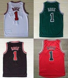Wholesale basketball jersey material - Cheap Hot sale #1 Derrick Rose Jersey, New Material Embroidery Stitched Derrick Rose Basketball Jerseys in black red white green