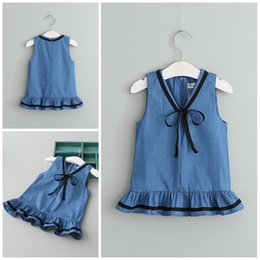 Wholesale Girls Black Denim Vest - Baby Clothes Girls Dress Summer Girls One-Piece Dresses Sleeveless Solid Color V-Neck Black Braid Denim Vest Skirt Kids Clothing XY268