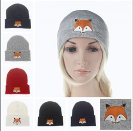 Wholesale Knitted Hats For Men Patterns - New Warm Winter knitted beanie Hat For Women and men Fashion girls Fox Pattern Hats Female skullies Caps Ladies Knitting skull Cap S668
