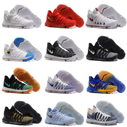 Wholesale Kd High Cut - 2017 High quality KD 10 X Correct Version Warriors Basketball Shoes for Kevin Durant 10s Airs Cushion KD10 Athletic Sports Sneakers US 7-12