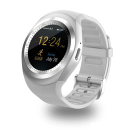 Wholesale Round Touch Screen Watches - Y1 smart watches 1.54 inches IPS Round Touch Screen Water Resistant Smartwatch Phone with SIM Card Slot smart watch for IOS Android