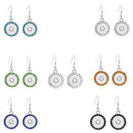 Wholesale Vintage Metal Chandelier Flowers - Noosa Metal Crystal snap Silver Plated Round Women's Trendy 7 colors Drop Earrings 12mm Button Earrings Vintage Jewelry