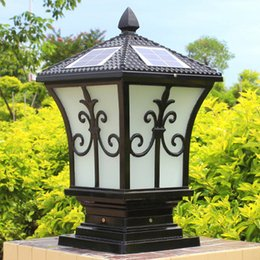 Wholesale Wholesale Garden Post Lights - solar post lights outdoor post lighting landscaping solar led garden lamp post lamps warm white cold white color light sensor functions