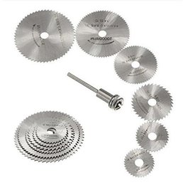 Wholesale Rotary Saws - Wholesale- 7 PCS Cutoff Circular Saw HSS Rotary Blades Tool Cutting Discs Mandrel for Dreme F049CL Crystal LOVE