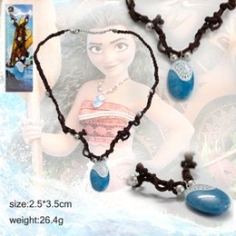 Wholesale Costume Chain Necklaces Wholesale - Moana Ocean Romance Rope Chain Necklace Blue Stone Pendant Braided Women Jewelry