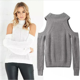Wholesale Off Shoulder Turtleneck - Wholesale-Turtleneck Off Shoulder Sweater Women Sexy Pullover Tricot Oversize Jumper Pull Femme Autumn Fashion Knitted Top