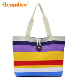 Wholesale Wholesale Womens Designer Bags - Wholesale-Brand new Canvas womens shoulder bags designers Striped shopper bags tote 2016 Gift 1 pcs