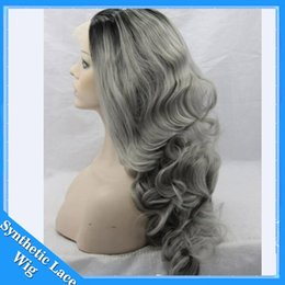 Wholesale Long Wavy Silver Hair - 26'' Long Ombre Grey Wigs Natural Cheap Hair Wavy Grey Gray Synthetic Wigs For Black White Women Gray Silver Ombre Female Hairstyle
