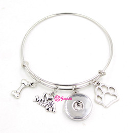 Wholesale Diy Dog Charms - New Arrival DIY Interchangeable Jewelry Pet Dong Bone Paw Print I love dog Adjustable Expandable Snap Wire Bangles&Bracelets Women Jewelry