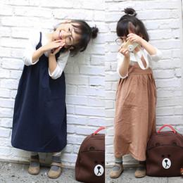 Wholesale Cotton Sundresses Long - Korean Fresh Literature Style Cotton Dress Suspender Girls Dresses Children's Dress Long Dress For Girl Sundress Kahki Navy Blue A6083