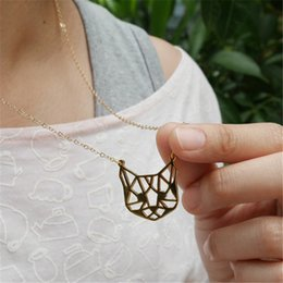 Wholesale Cute Cat Jewelry - Wholesale- Origami Cat face Necklace Cute Cat Necklace Geometric Cat Face Pendant Animal jewelry For Pets lovers