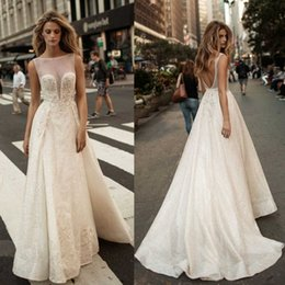 Wholesale sexy images net - 2017 Berta Pearls Overskirts Wedding Dresses Appliqued Net Plus Size Backless Bridal Gowns A Line Wedding Dress
