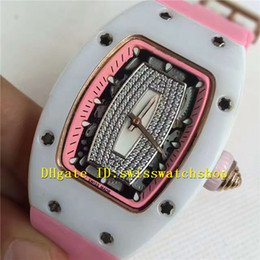 Wholesale Pink Rubber - Luxury Brand Spline Screws AZT White Ceramic Diamonds Automatic Ladies Watch Pink Rubber Strap Best Version Womens Watches