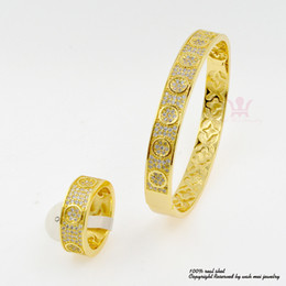 Wholesale Dot Inlay - Cubic Zirconia Stone Jewelry Micro Inlay Pave Set Of Bangle Bracelets And Ring Circlet Middle East Popular Wristband Wristlet Dots BR012