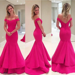 Wholesale Short Bridesmaid Dresses Satin - Fast Shipping Off the Shoulder Sexy Deep V Back Mermaid Evening Dresses with Tiered Skirt Prom Gowns 2017 Formal Party Wear