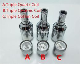 Wholesale Cotton Cartomizer - D-CORE Triple coils wax Quartz atomizer Ceramic Cotton rob wax vaporizer wax cartomizer coilsVS Dual Coil Skillet Globe glass Cannon coil