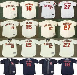 Wholesale Anaheim Angels Jersey Black - Throwback Los Angeles Angels of Anaheim 15 TIM SALMON 16 GARRET ANDERSON 27 VLADIMIR GUERRERO California Angels Baseball Jerseys Good