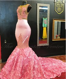 Wholesale Rose Lace Flower Dress Girl - African Pink Mermaid Evening Dress Gold Lace Appliques 3D Rose Flower Flora Long Prom Dresses for Black Girls Women Party Gowns