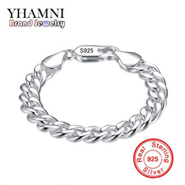 Wholesale Stamp Men - YHAMNI Brand Fine Jewelry 100% 925 Sterling Silver Bangles Bracelet For Men Classic Charm Bracelet S925 Stamped Men's Bracelet H151