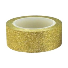 Wholesale Crafting Glitter - Wholesale- 2016 2 x 10M Glitter Washi Tape Stick Self Adhesive Decorative Decora Craft DIY Paper golden