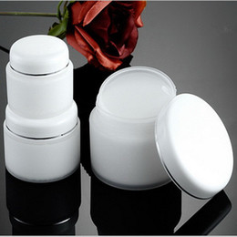 Wholesale Double Layer Cream Bottle - 30pc lot 15g 30g 50g Double Layer PP Cream Jar Bottle With White Lid Empty White Color Plastic PP Cosmetic Jar With Threaded Cap