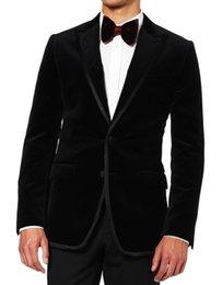 Wholesale Loose Velvet Dress - Wholesale- Custom Made Two Button Black Velvet Groom Tuxedos Groomsmen Mens Wedding Suits Formal Dress (Jacket+Pants+Bow Tie+Girdle) NO:0