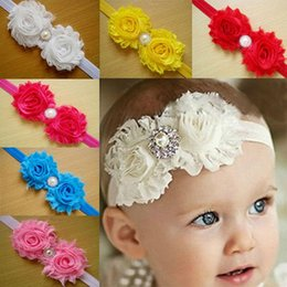 Wholesale Weaved Hair Bands - 10 colors Children's hair accessories Headbands baby flowers woven cross hair band headbands cotton elastic cloth baby Headwear 05