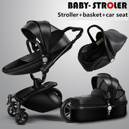 Wholesale Pram Baby - Baby strollers 3 in 1 leather baby pram AULON Europe baby car seat basket leather bassinet Golden frame Gifts